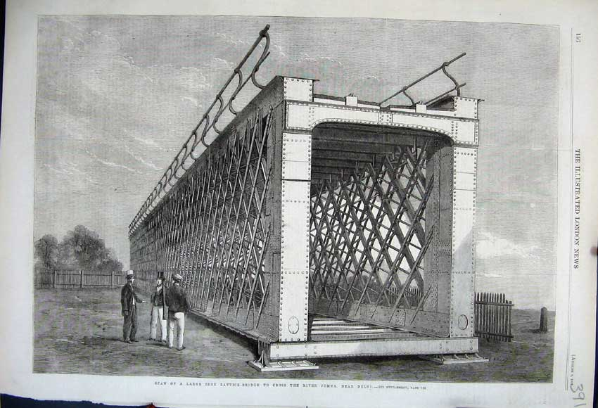 Print 1862 Span Iron Lattice Bridge Jumna Delhi Architecture 391N114 Old Original