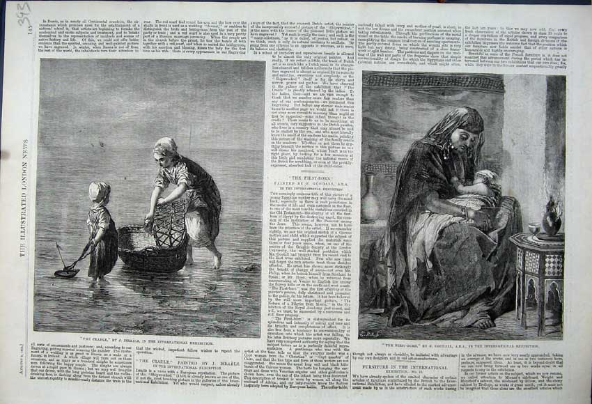 Print 1862 Cradle Fishing Woman Children Baby Exhibition Art 393N114 Old Original