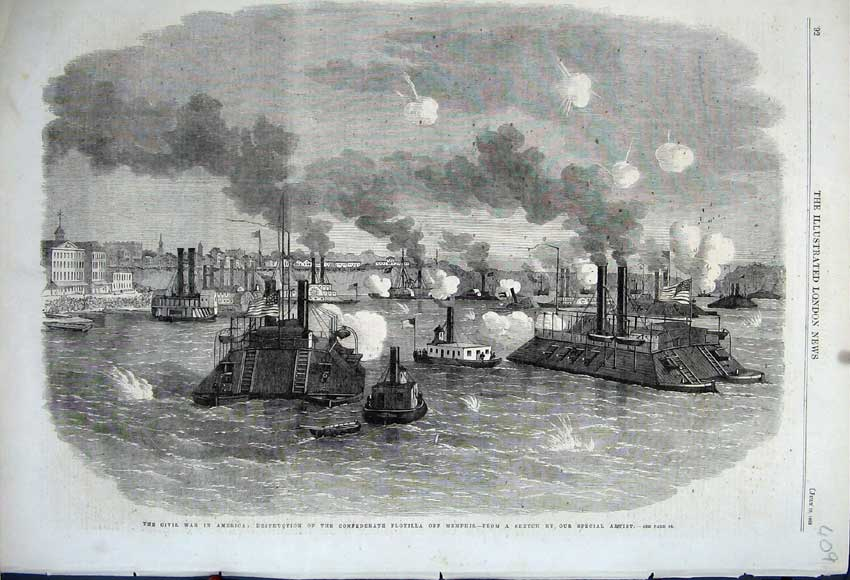 Print Civil War America 1862 Destruction Flotilla Memphis 409N114 Old Original
