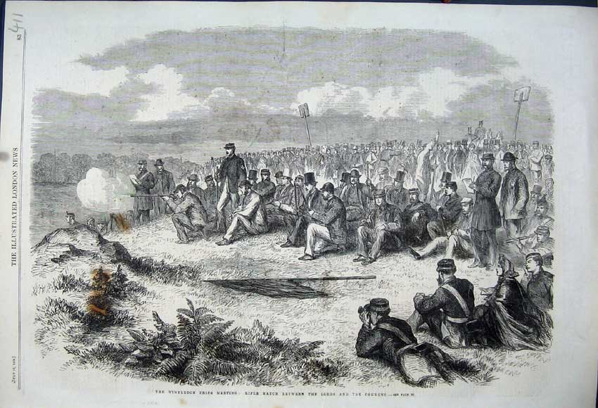 Print 1862 Wimbleodn Meeting Rifle Match Lords Commons 411N114 Old Original
