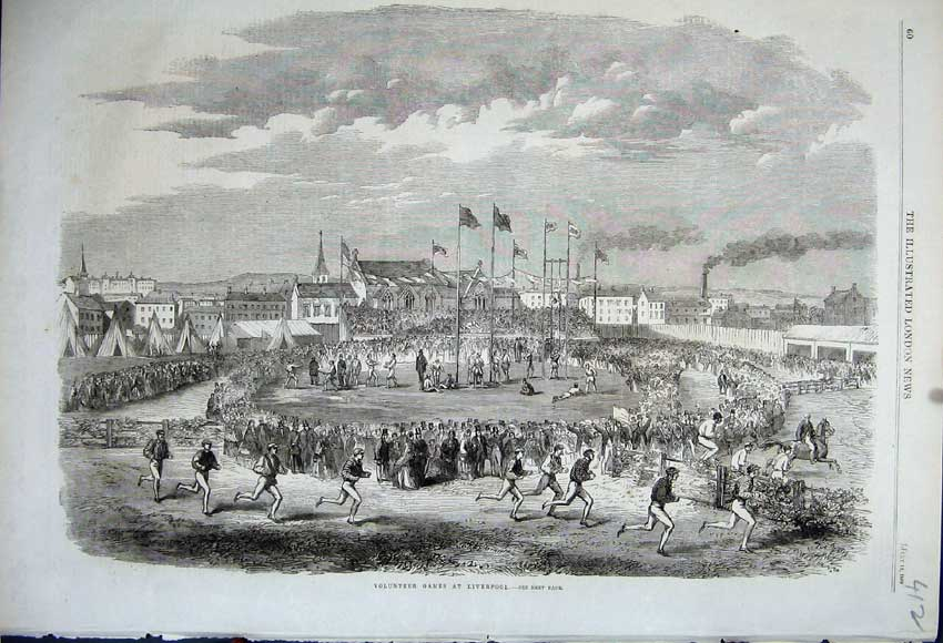 Print 1862 Volunteer Games Liverpool Men Running Sport Race 412N114 Old Original