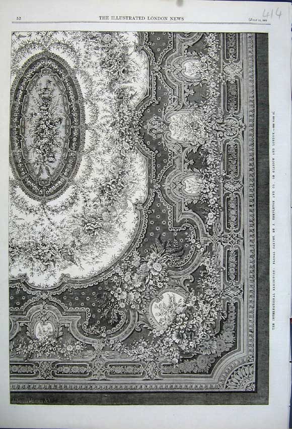 Print 1862 International Exhibition Floral Carpet Templeton 414N114 Old Original