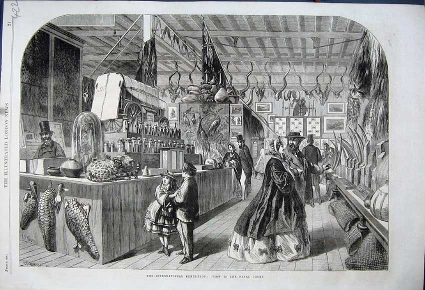 Print 1862 International Exhibition View Natal Court People 422N114 Old Original