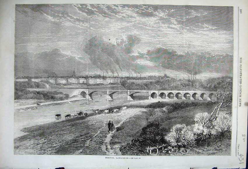 Print 1862 View Town Viaduct Bridge River Cattle Lancashire 431N114 Old Original
