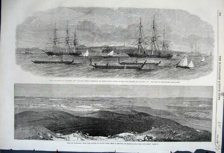 Print 1862 Auckland Harbour Crater Mount Eden Regatta Canoe 433N114 Old Original