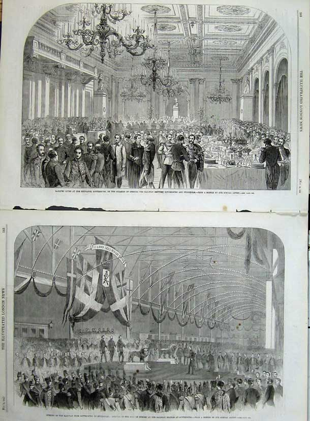 Print 1862 Banquet Railway Gothenburg King Sweden Train Men 505Tn114 Old Original