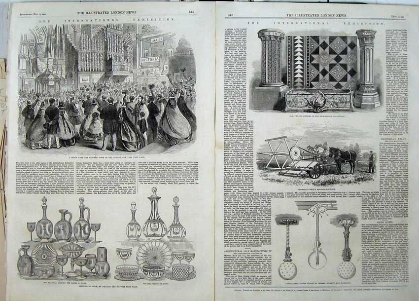Print 1862 Services Glass Croskill Reaping Machine Globe 508Tn114 Old Original