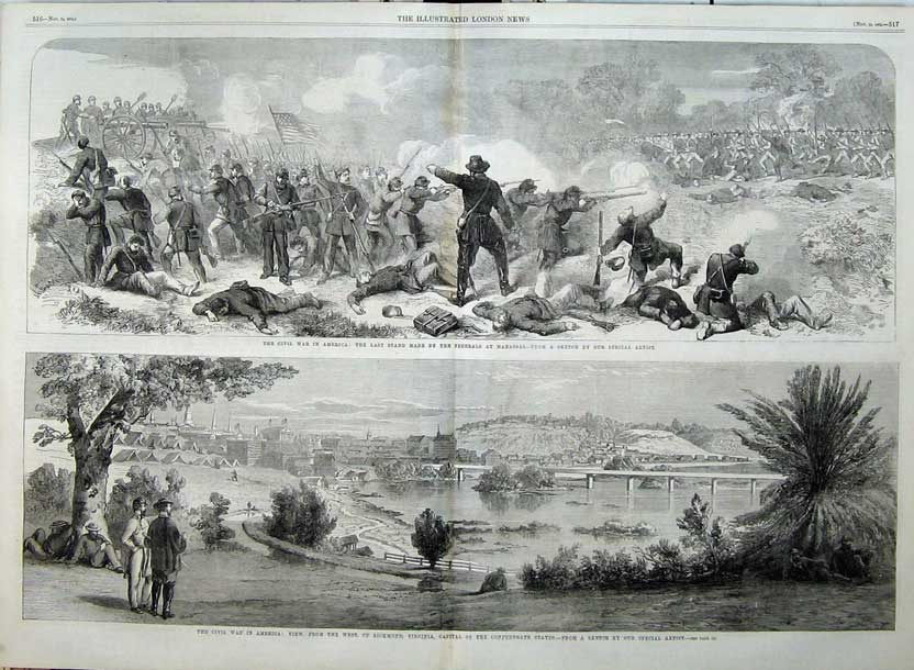 Print 1862 Civil War America Ricmond Virginia Battle Federals 509Tn114 Old Original
