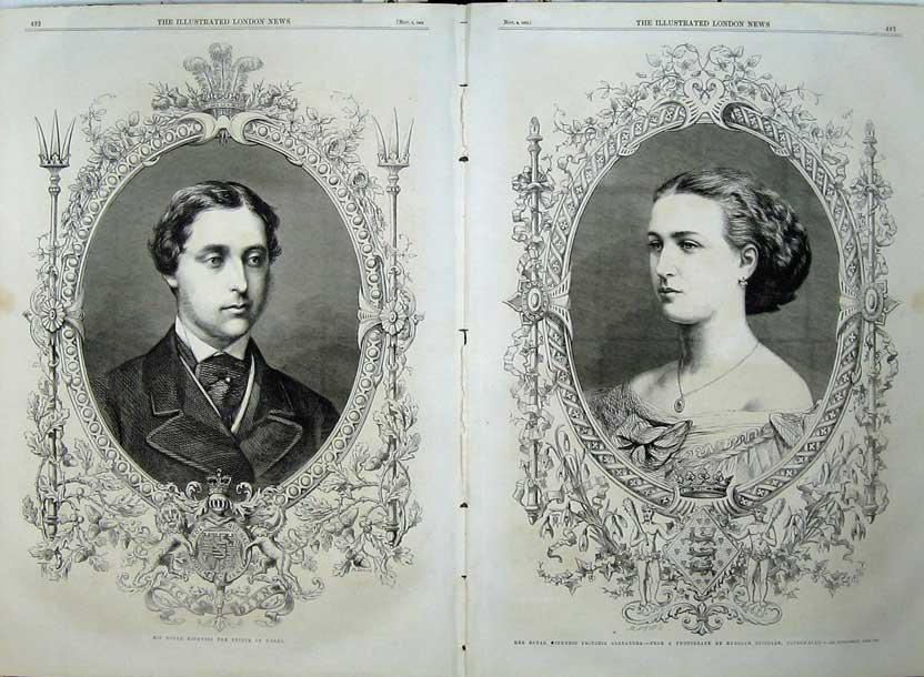 Print 1862 Royal Highness Prince Wales Princess Alexandria 510Tn114 Old Original