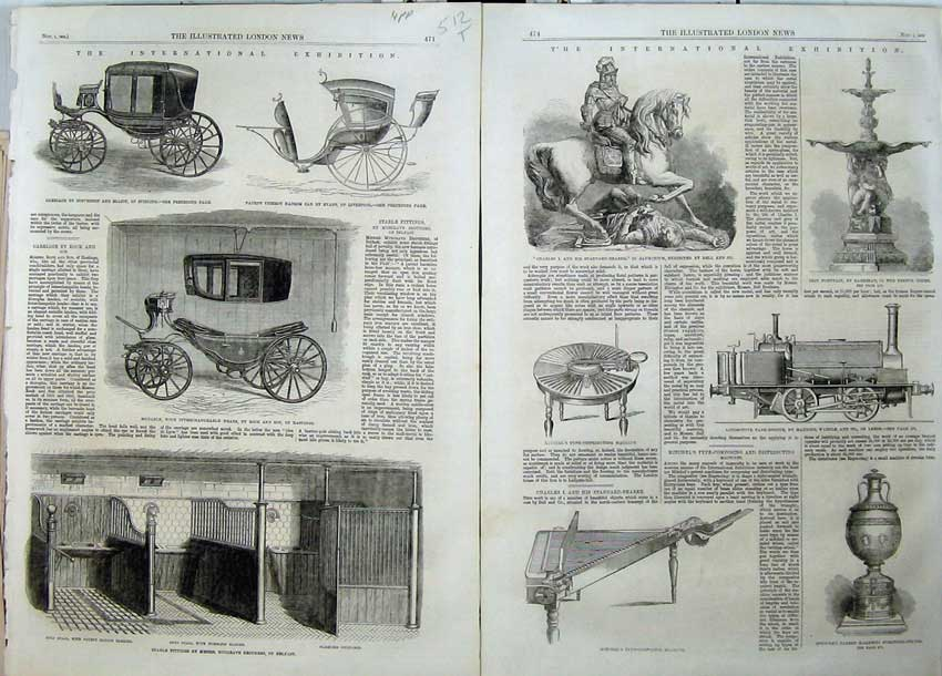Print 1862 Carriage Elliot Cab Stable Furniture Machinery 512Tn114 Old Original