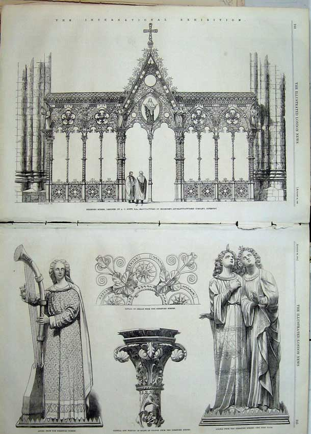 Print 1862 Hereford Screen Angel Capital Shaft Column Grille 523Tn114 Old Original