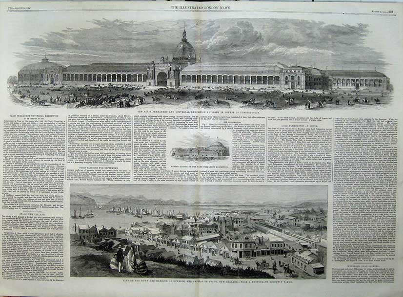 Print Paris Exhibition Building 1862 Town Harbour Dunedin 525Tn114 Old Original