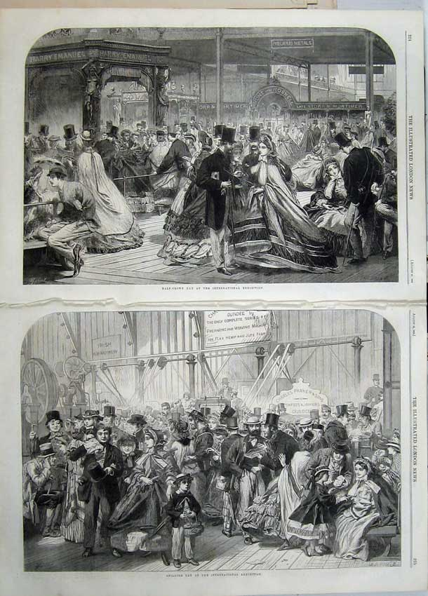 Print 1862 Shilling Day Half-Crown International Exhibition 526Tn114 Old Original