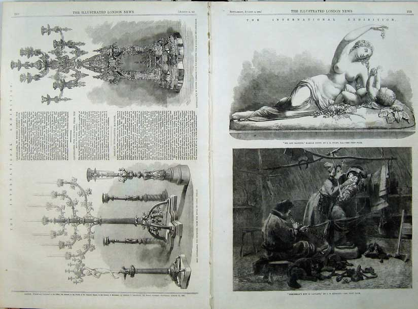 Print 1862 Iron Candelabra Fisherman Hut Lapland Dog Marble 527Tn114 Old Original