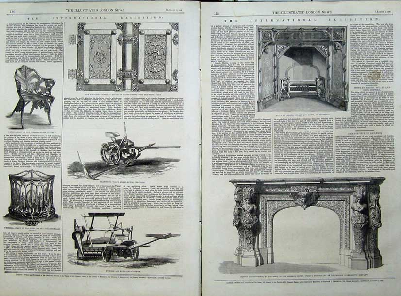 Print 1862 Marble Chimneypiece Grain-Mower Stove Machinery 528Tn114 Old Original