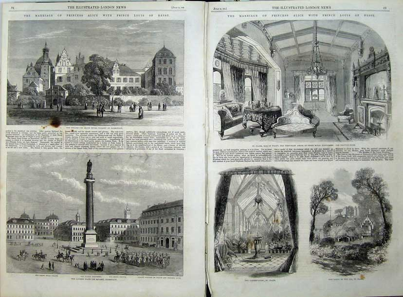 Print 1862 Ducal Palace Darmstadt Louisen Platz Wight Clare 532Tn114 Old Original