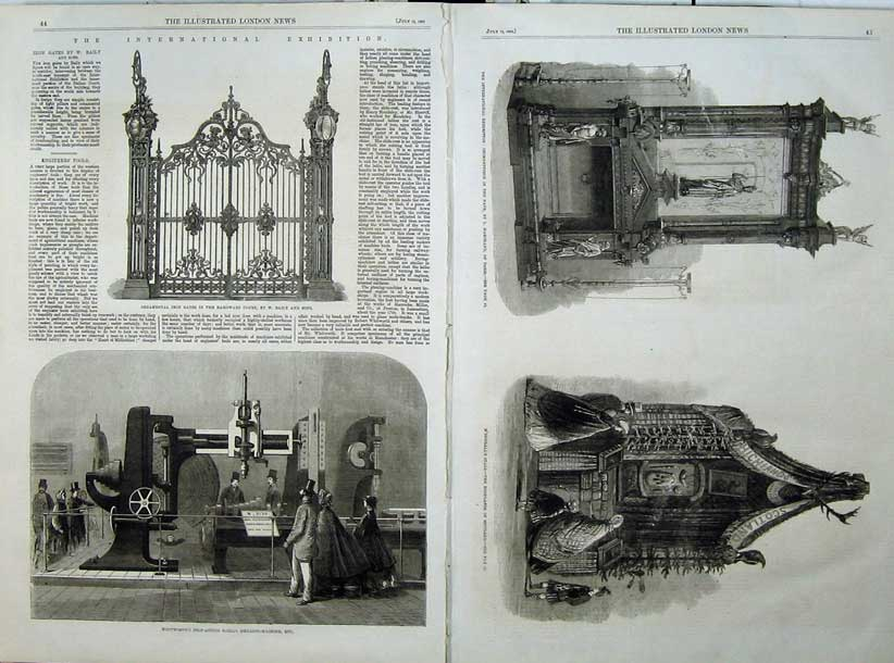 Print 1862 Iron Gates Drilling Machine Macdougalls Stall Nave 535Tn114 Old Original