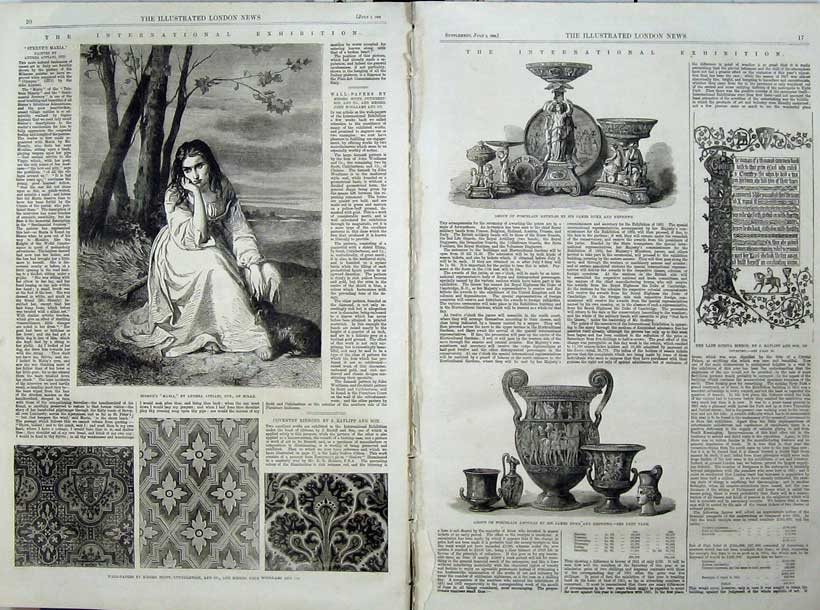 Print 1862 Wall Papers Sterne'S Maria Milan Porcelain Article 536Tn114 Old Original
