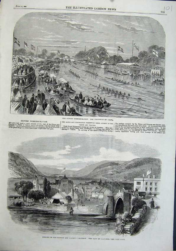 Print 1863 Vale Llanrwst Oxford Commemoration Boats River 101N115 Old Original