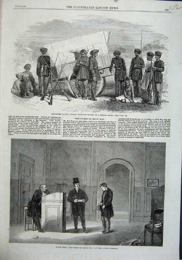 Print 1863 Olympic Theatre Sholapore Indian Police Hindoo 102N115 Old Original