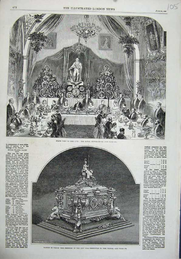 Print 1863 Royal Banquet Dinner Casket Freedom City Prince 105N115 Old Original