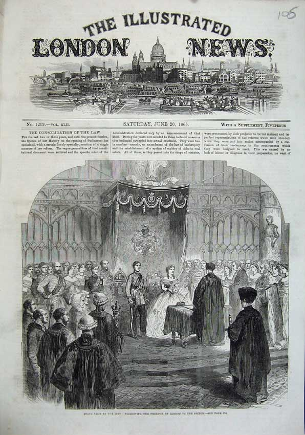 Print 1863 State Visit City Freedom London Prince Wales Royal 106N115 Old Original