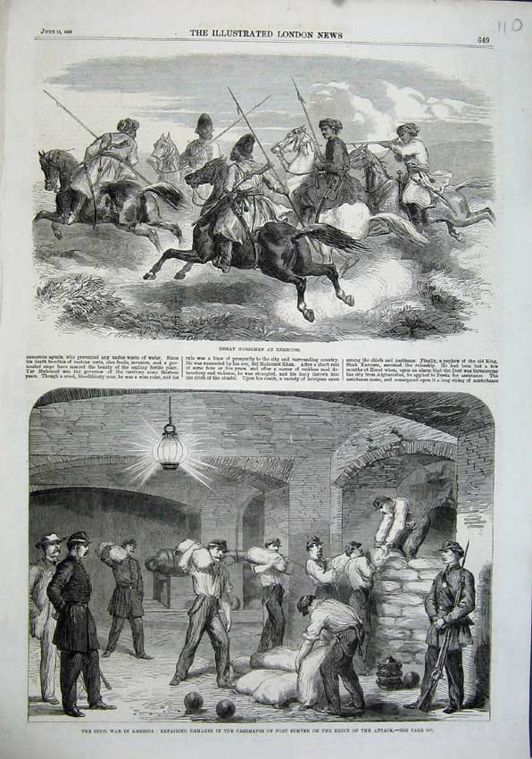 Print 1863 Herat Horsemen Civil War America Fort Sumter Men 110N115 Old Original