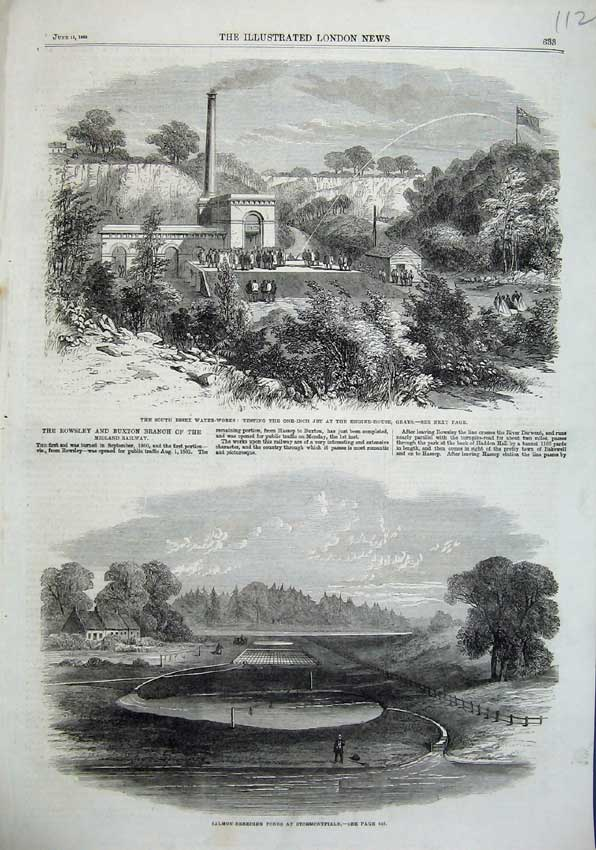 Print 1863 Salmon Fish Ponds Stormontfield Essex Water Works 112N115 Old Original