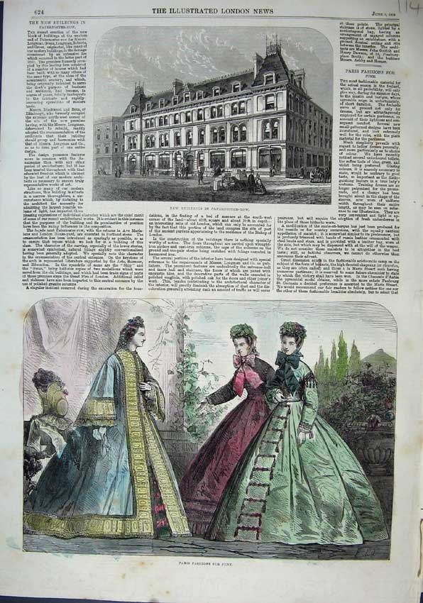 Print 1863 Buildings Paternoster-Row Paris Fashion Dresses 114N115 Old Original