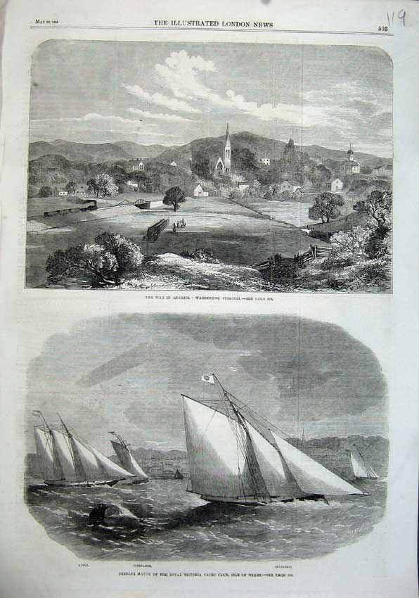 Print 1863 War America Warrenton Victoria Yacht Club Avoca 119N115 Old Original