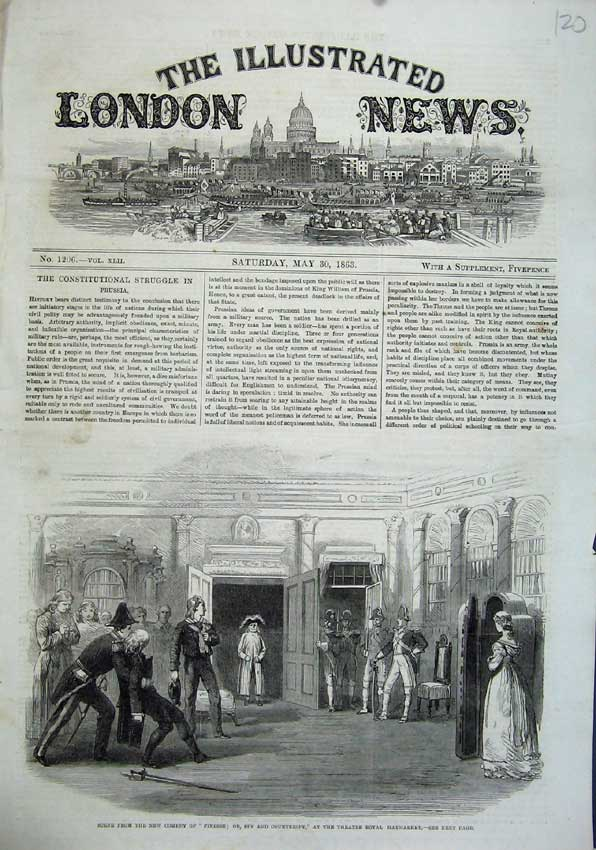 Print 1863 Scene Comedy Finesses Spy Theatre Royal Haymarket 120N115 Old Original