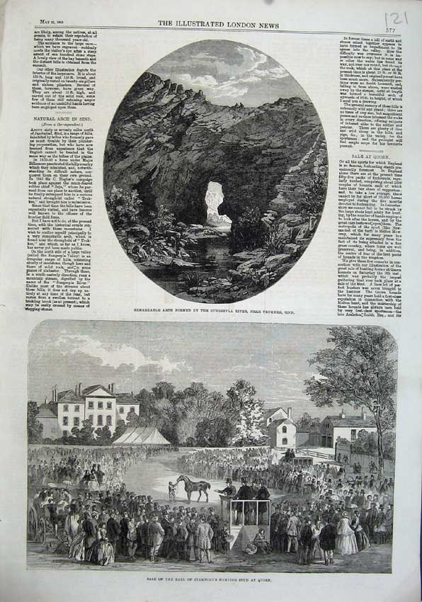 Print 1863 Earl Stamfords Hunting Stud Quorn Arch Sungseyla 121N115 Old Original