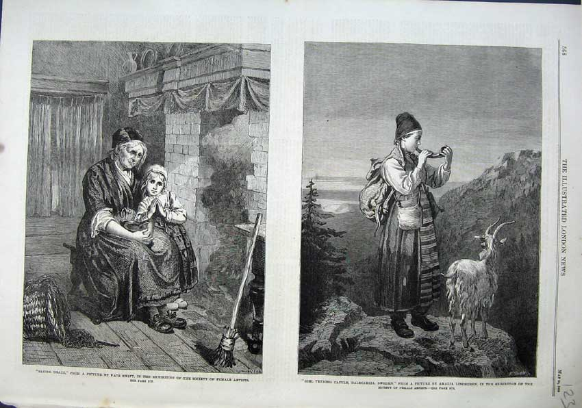Print 1863 Lady Girl Saying Grace Tending Cattle Sweden 123N115 Old Original