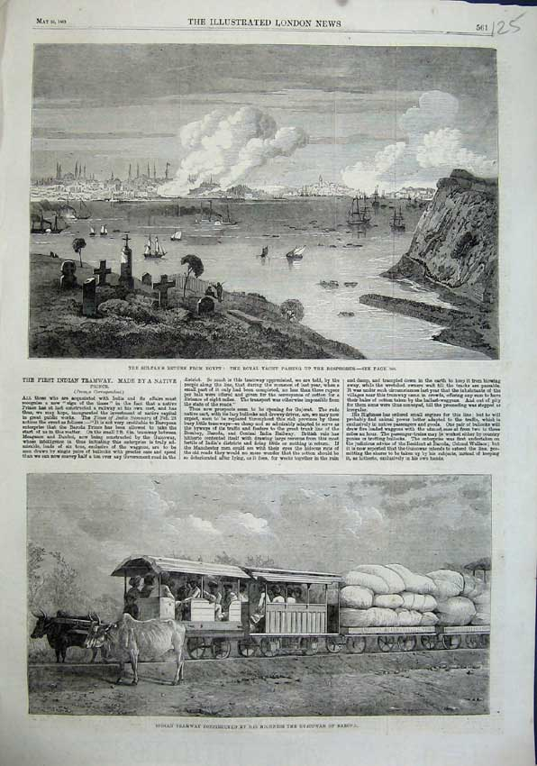 Print 1863 Sultan Egypt Royal Yacht Indian Tramway Bosphorus 125N115 Old Original