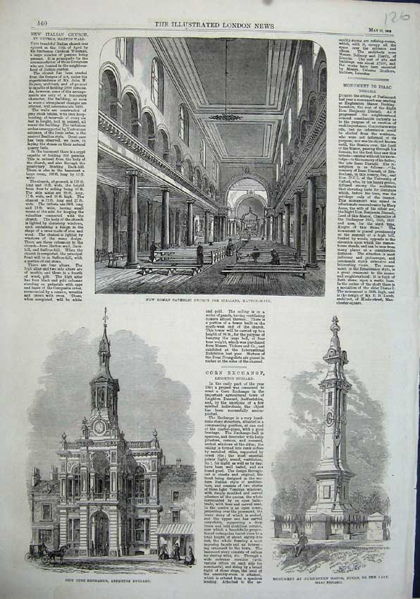 Print 1863 Roman Catholic Church Italians Corn Exchange Isaac 126N115 Old Original