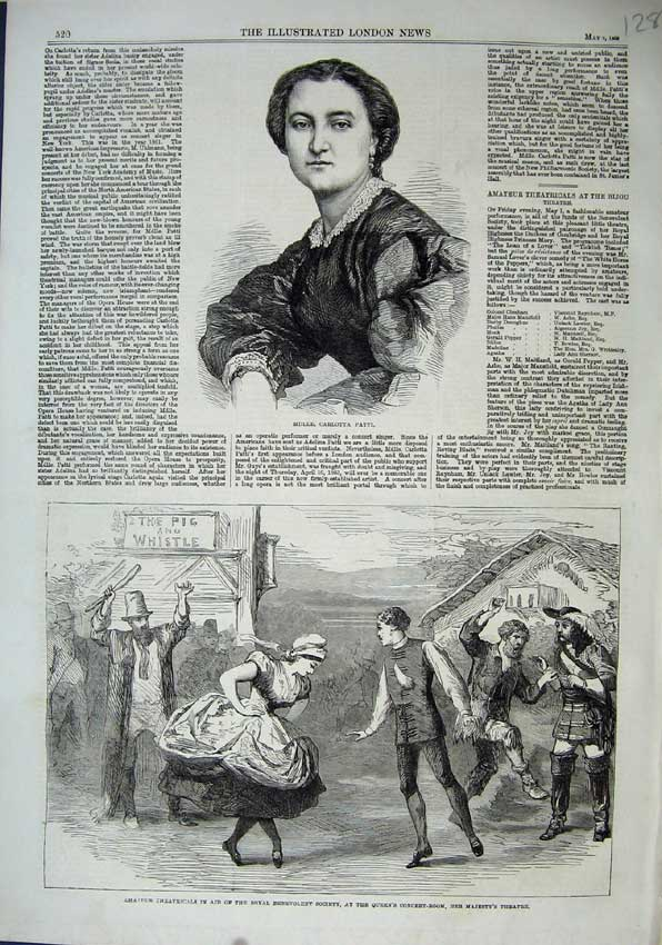Print 1863 Carlotta Patti Majesty Theatre Benevolent Society 128N115 Old Original