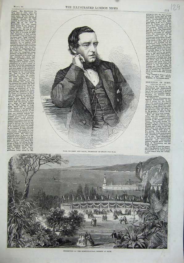 Print 1863 Earl Grey Ripon Secretary State War Garden Nice 129N115 Old Original