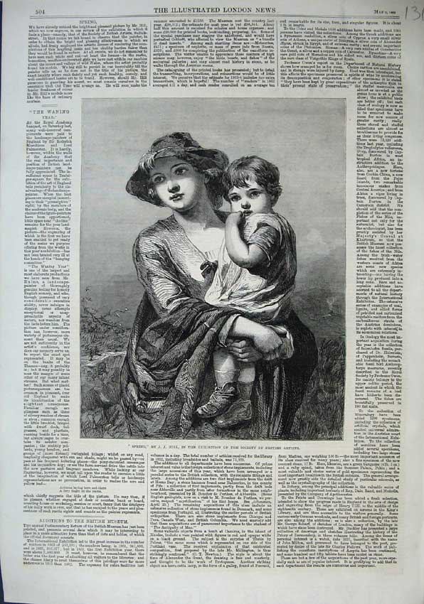 Print 1863 Society British Artists Spring Hill Woman Child 131N115 Old Original