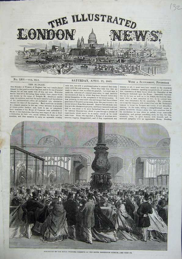 Print 1863 Exhibition Royal Wedding South Kensington Museum 132N115 Old Original