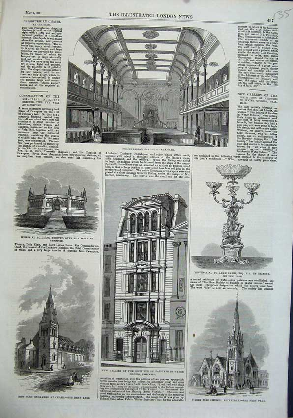 Print 1863 Corn Exchange Cupar Presbyterian Chapel Edinburgh 135N115 Old Original