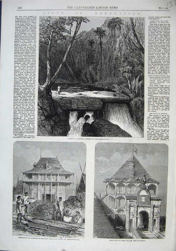 Print 1863 Falls Anevoca Forest Analamazaotra Palace Chief 137N115 Old Original