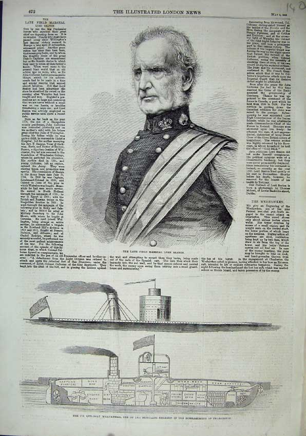 Print 1863 Field Marshal Lord Seaton Gun-Boat Weehawken 140N115 Old Original