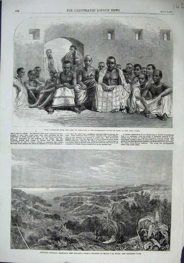 Print 1863 Manukau Harbour Zealand Emissaries King Ashantee 142N115 Old Original