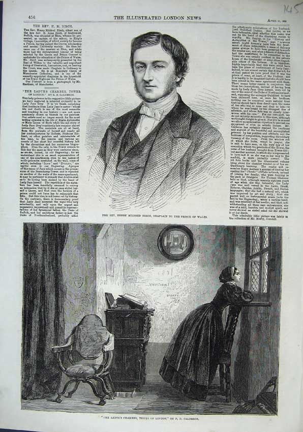 Print Henry Mildred Chaplain 1863 Ladye Chamber Tower London 145N115 Old Original