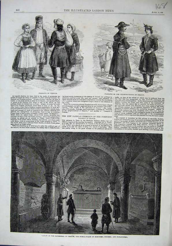 Print 1863 Cathedral Cracow Vaults Sobieski Peasants Podilia 148N115 Old Original