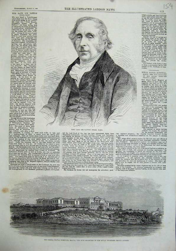 Print 1863 Tatton Sykes Naval Hospital Malta Prince Alfred 154N115 Old Original
