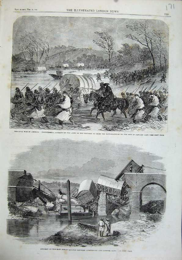 Print 1863 Civil War America Potomac Indian Railway Accident 171N115 Old Original