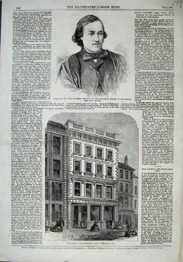 Print 1863 Lucas Barrett Geological London Bank Finch-Lane 179N115 Old Original