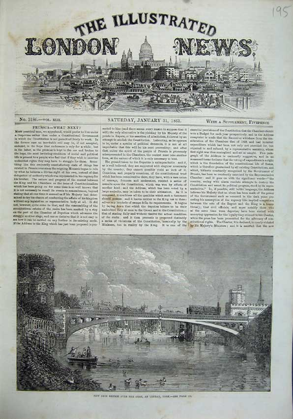 Print 1863 Iron Bridge River Ouse Lendal York Boats Buildings 195N115 Old Original