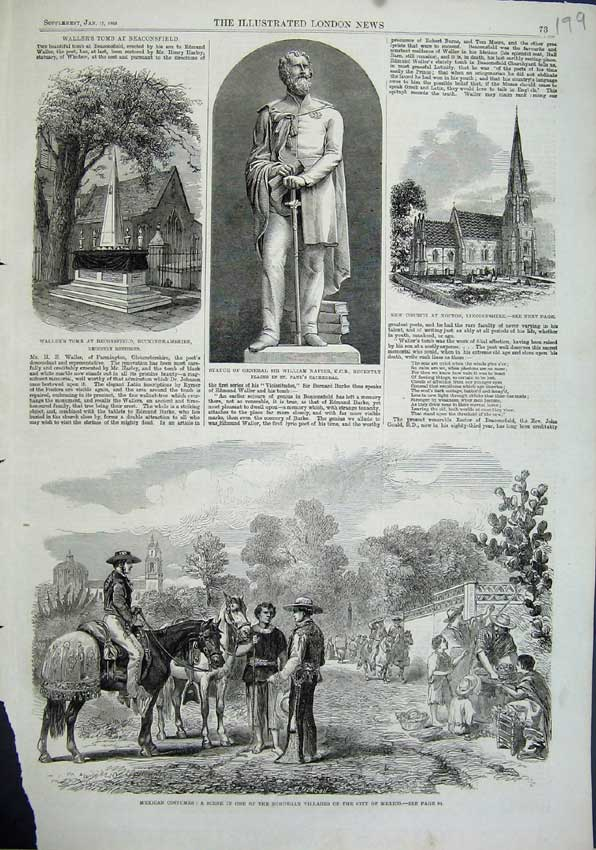 Print 1863 Mexico Costumes Vilage Statue Napier Waller Tomb 199N115 Old Original
